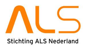 ALS logo wit met oranje letters